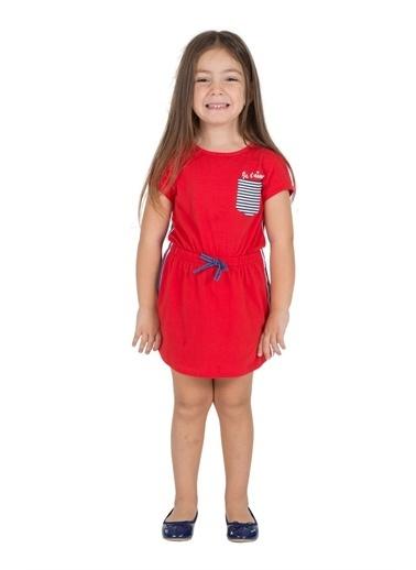 Silversun Kids Kız Çocuk Cepli Belden Lastikli Yandan Şeritli Kısa Kollu Örme Elbise Ek 216183 Kırmızı